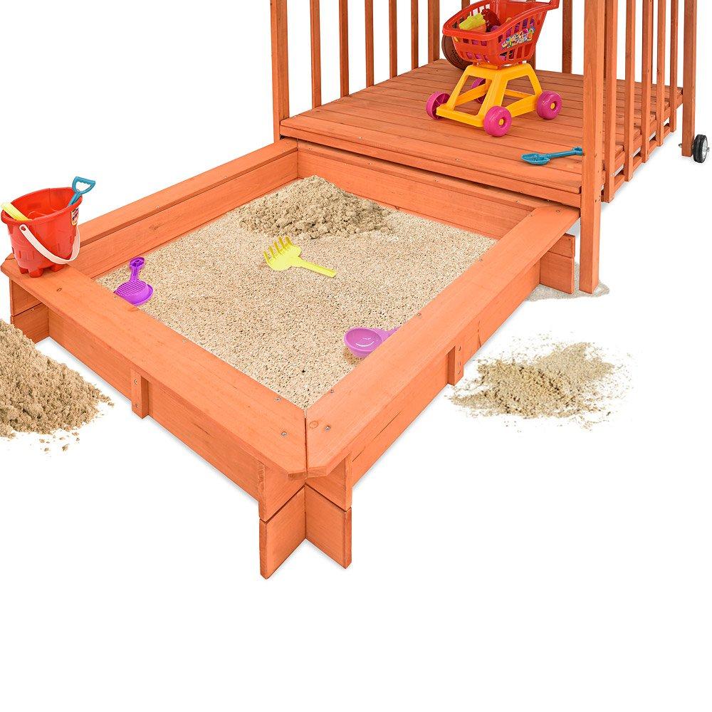 avec toit protection UV 50-143x130x130cm Deuba 100090 Bac à sable en bois jeu enfant jardin