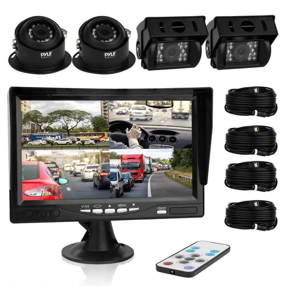 Pyle Car Rear View Camera and Video Monitor, IP68 Waterproof, Commerical Grade, 4 Cameras, Night Vision, 7-Inch LCD Display for Trailer, RV, Trucks, Pickup Trucks, Cargo Vans, etc. (PLCMTRS77) by Pyle