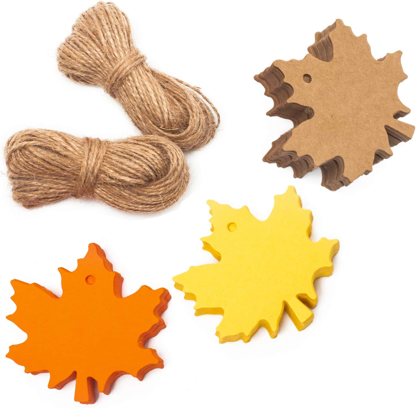 Whaline 150 Pcs Fall Gift Tags Maple Leaves Favor Paper Tags Favor with 131 Feet Natural Jute Twine for Autumn, Thanksgiving, Wedding, Craft Presents (3 Colors)