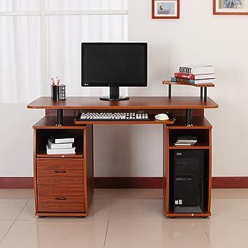 homcom home office dorm computer desk w elevated shelf brown
