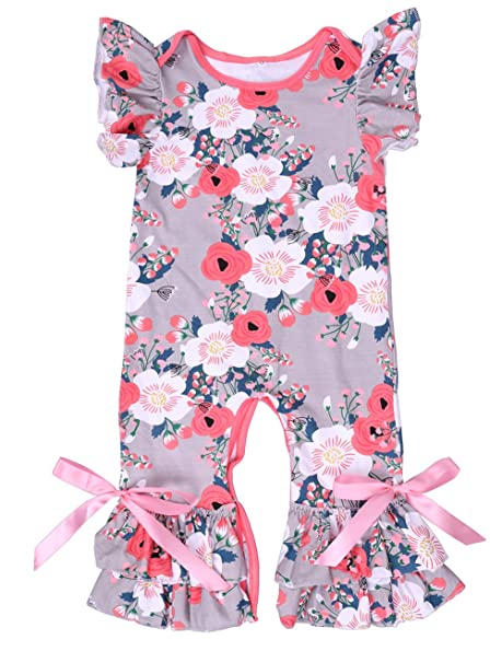 Newborn Baby Girl Vintage Cotton Floral Flutter Sleeve Jumpsuit 0-3 Years Baby Clothing One-pieces