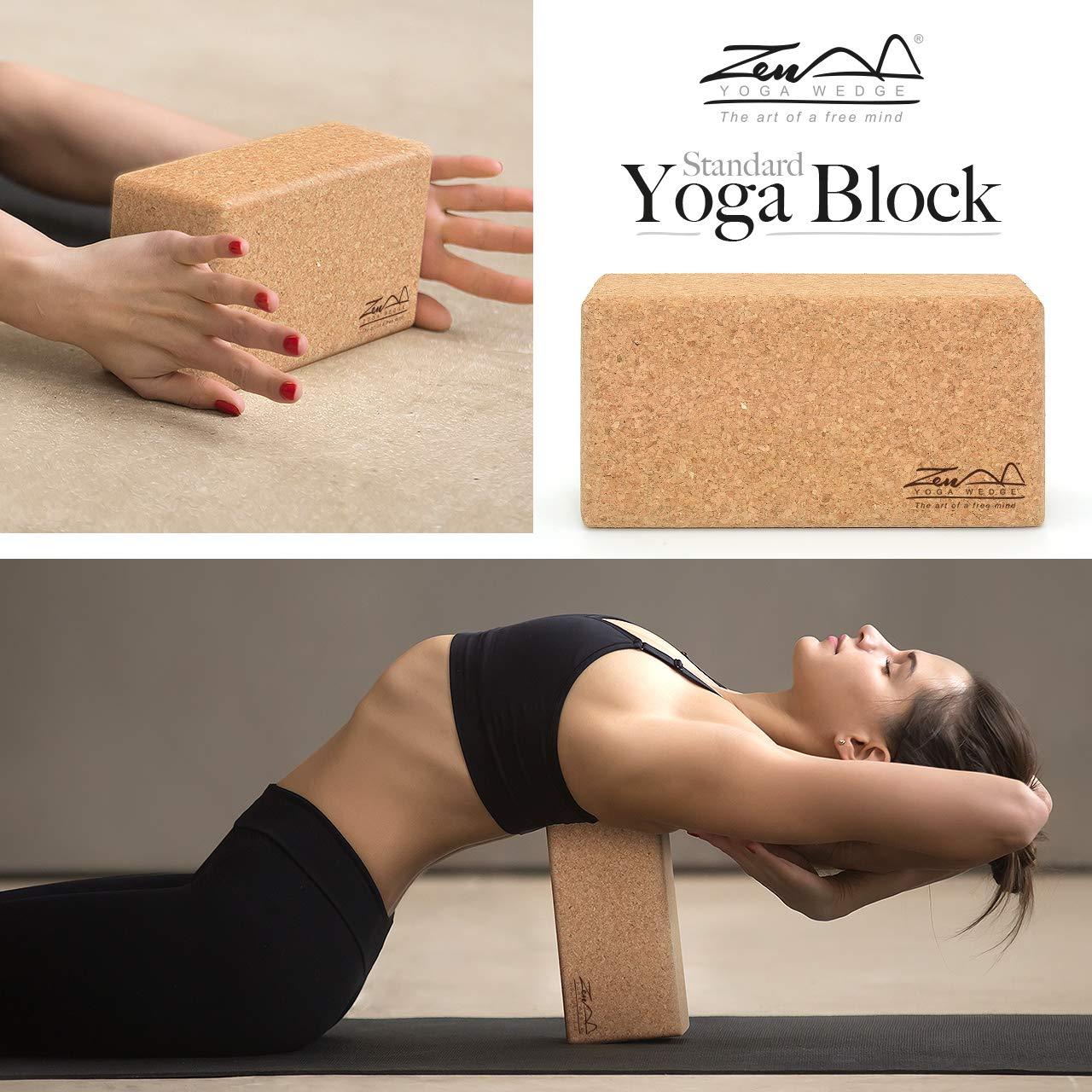 ZenYogaWedge - Juego de 2 Bloques de Yoga de Corcho estándar ...