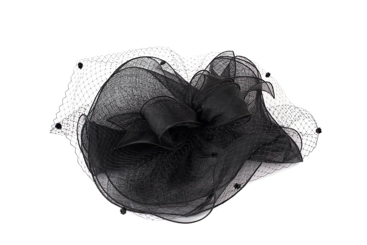 BYSUMMER Fancy Organza Fascinator Millinery Cocktail Derby Hat (Black)