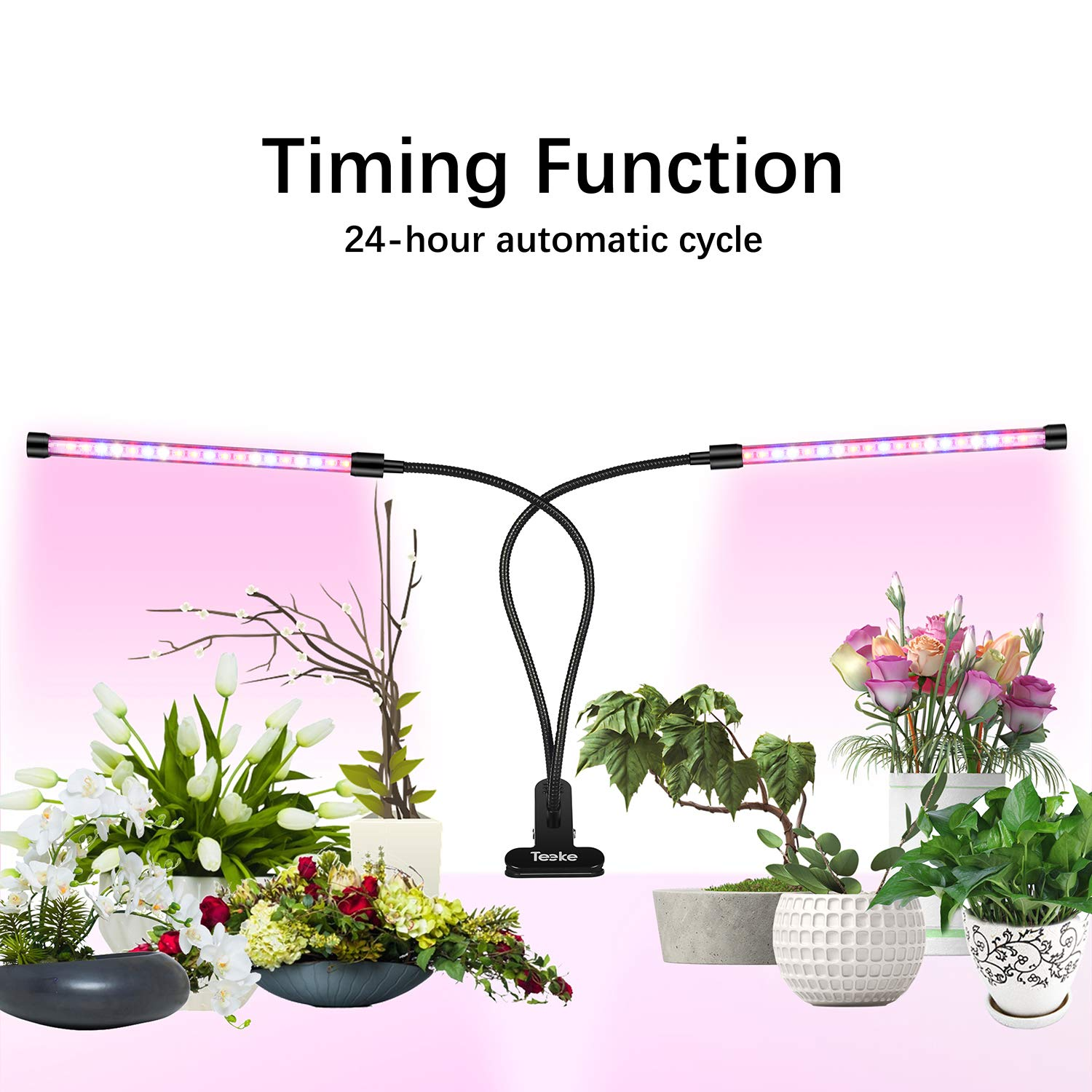 LED Grow Light Bulb for Indoor Plants,Teeke 20W LED 10 Dimmable Levels Plant Grow Lights with Sun-Like Full Spectrum, Cycle Timing, Adjustable Dual Head Goose-Neck, 3 Time Switch Modes