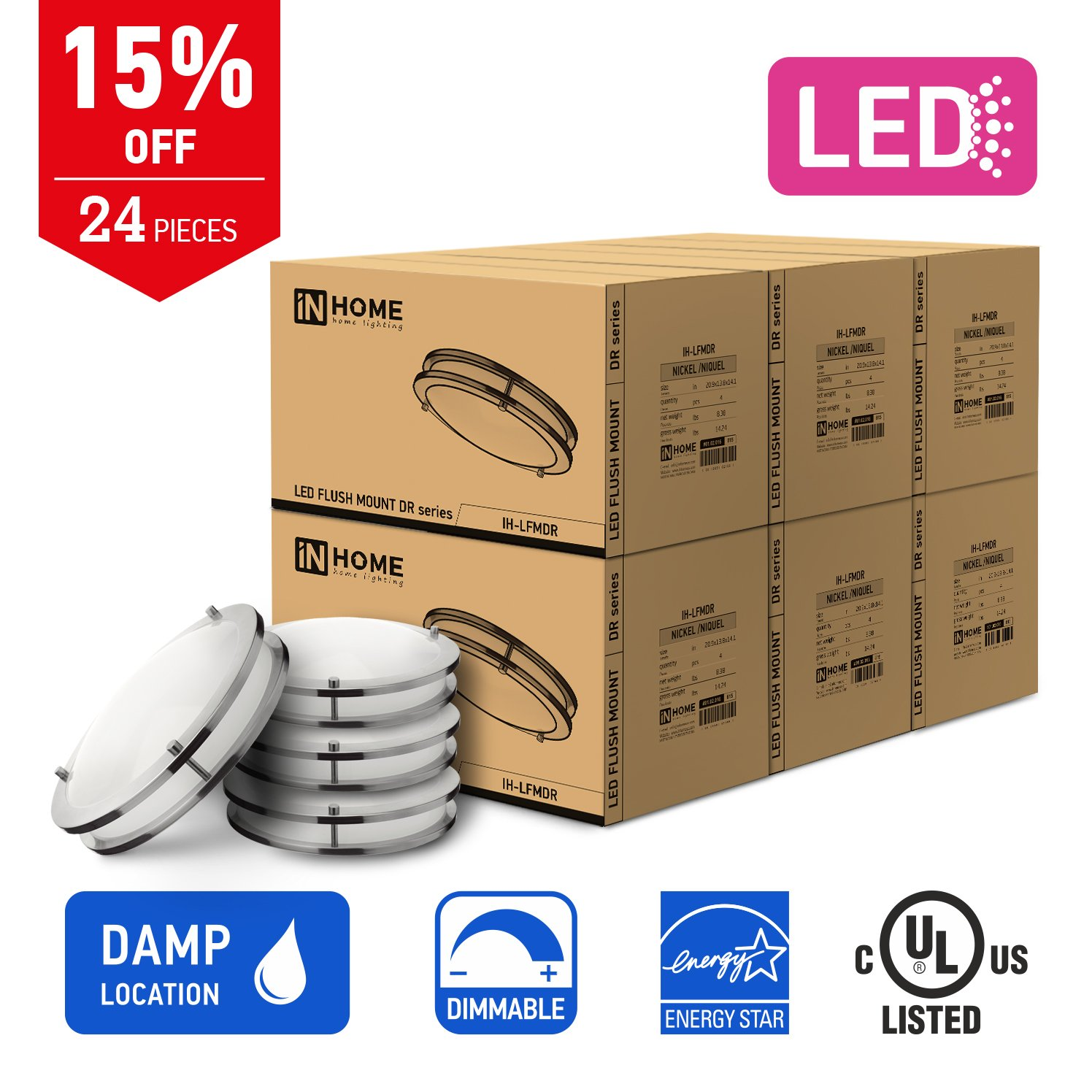 In Homeフラッシュマウントダブルリング 12 Pack IH-LFMDR-14D2150-NK-12-PACK B0798D6RWH 12 Pack,14