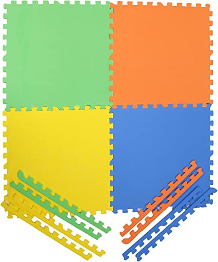 Archana NHR Colorful Interlocking Square Kids Play Puzzle Style Mat 24 X 24,Standard(Multicolour)-Set of 4
