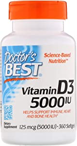 Doctor's Best, (2 Pack) Vitamin D3, 125 mcg (5000 IU), 360 Softgels