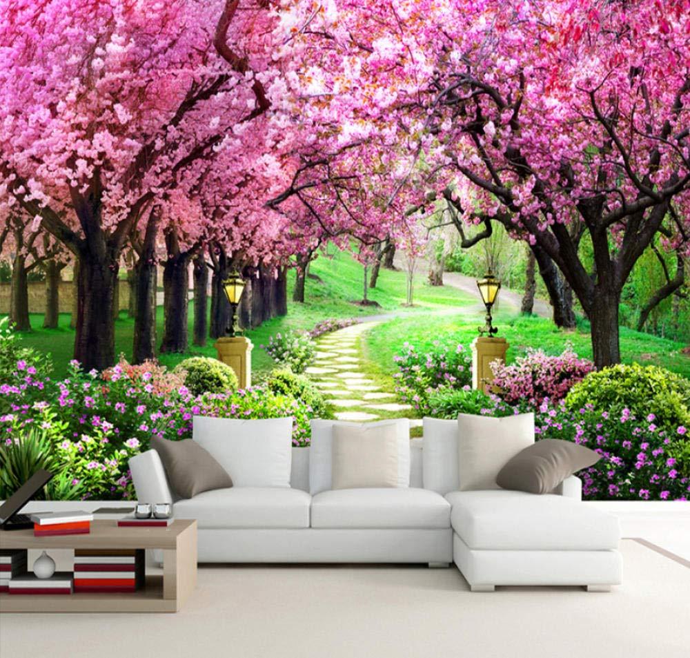 3d Photo Wallpaper Flower Romantic Cherry Blossom Tree Small Road