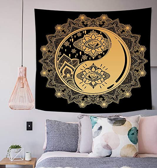Yin Yang Wall Tapestry Mystical Sign Mandala Motifs Wisdom Yoga Zen Chakra Enlightenmen Wall Hanging Decor for Bedroom Tablecloth 60 Wx60 L Inches, Golden Yellow SILS408
