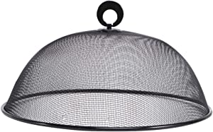 Hemoton Mesh Food Cover Stainless Steel Mesh Screen Food Tent Dining Table Round Umbrella Reusable Outdoor Picnic Food Lid (Black)