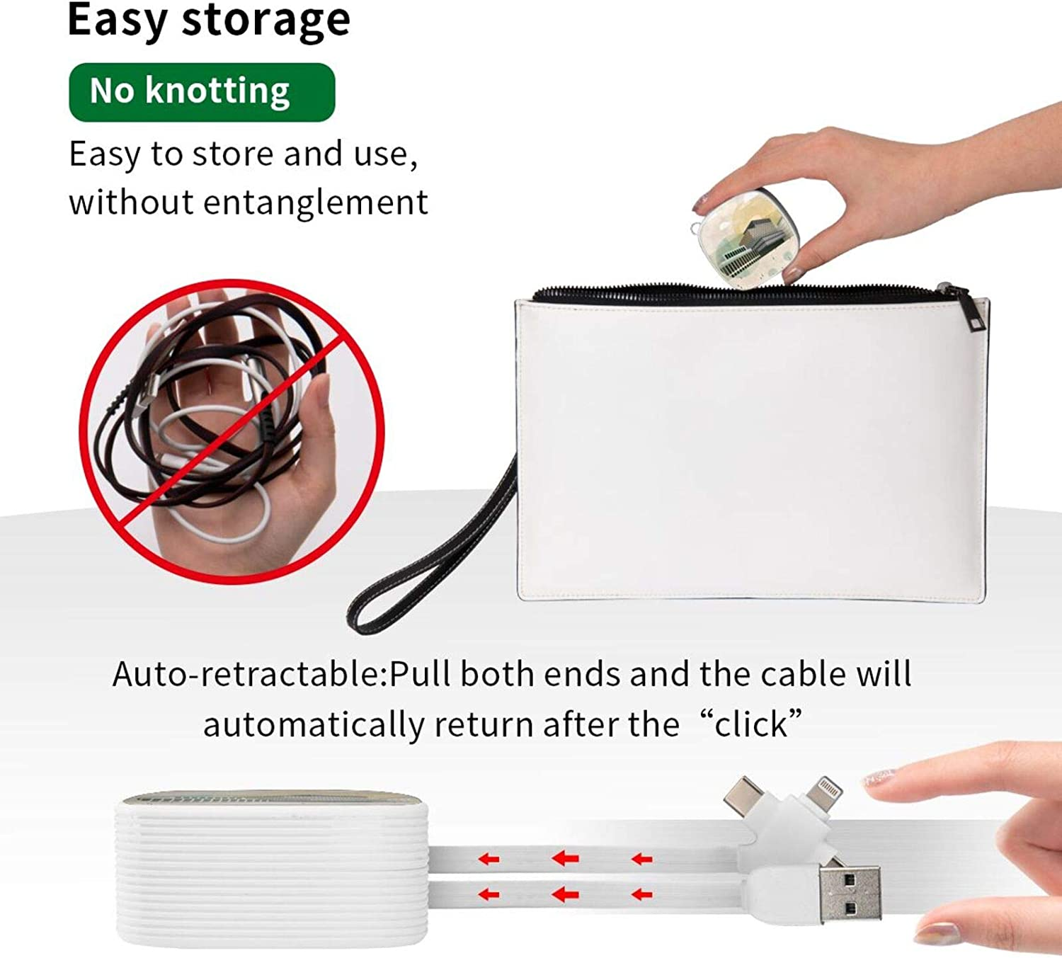 Multi Charging Cable Portable 3 in 1 Centenary Square Throw Pillow USB Power Cords for Cell Phone Tablets and More Devices Charging