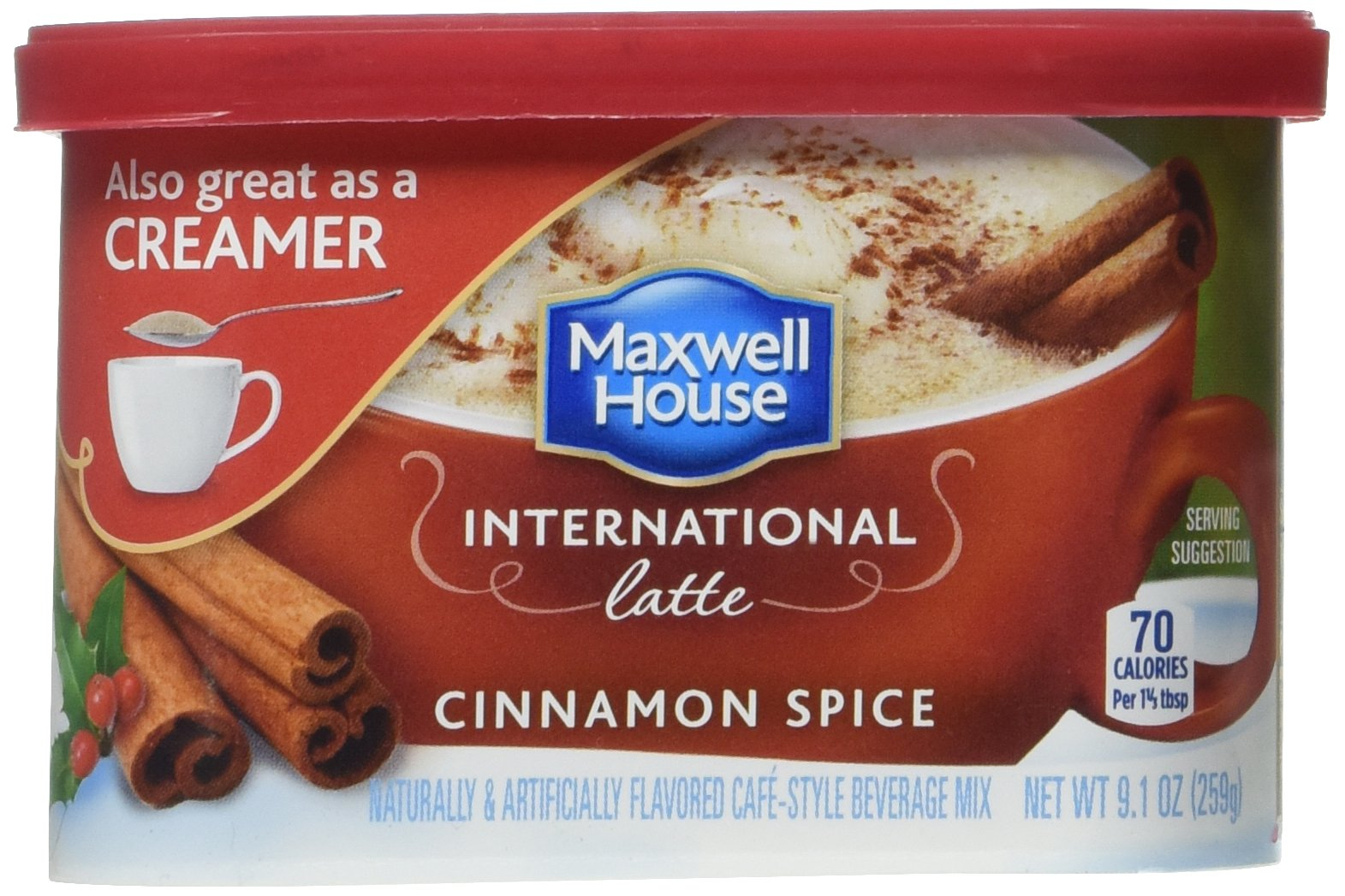 Maxwell House International Cafe Flavored Instant Coffee, Cinnamon Spice Latte, 9.1 Ounce