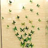 HQdeal 3D Colorato Farfalla Adesivo da Parete Removibile Frigorifero Adesivo Vetro Calamita per Matrimonio Decorazione Domestica 12pc confezione