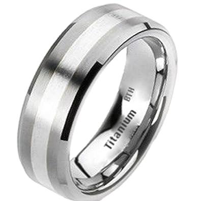 Mens Titanium Ring 925 Sterling Silver Inlay Titanium Classic