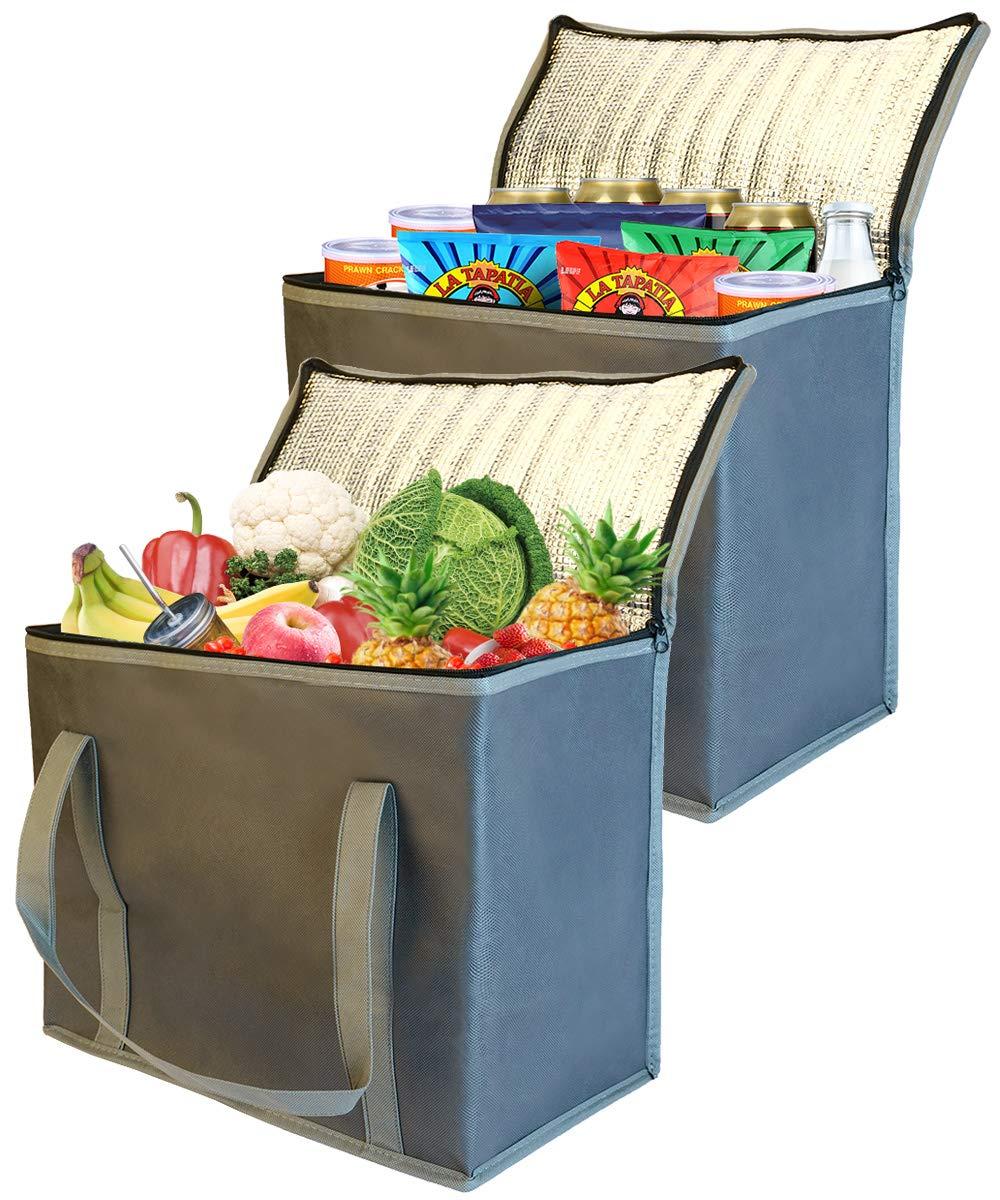 Amazon.com: 2 bolsas de compra reutilizables con aislamiento ...