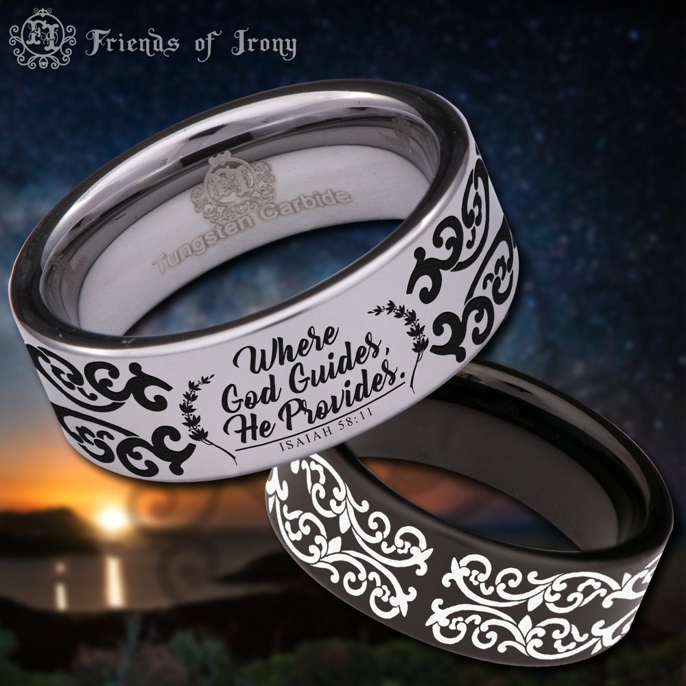Friends of Irony Black Tungsten Carbide Isaiah 58:11 Ring 8mm Wedding Band and Anniversary Ring for Men and Women Size 13