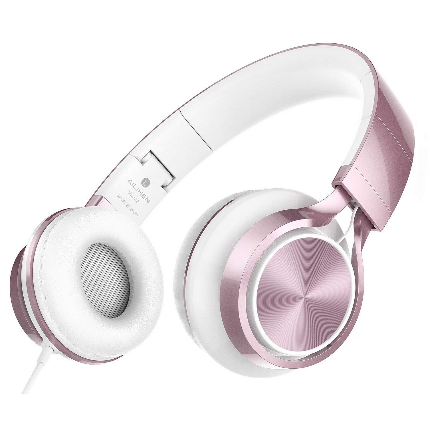 AILIHEN MS300 Wired Headphones, Stereo Foldable Headset for iOS Android Smartphone Laptop Tablet PC Computer (Rose Gold) by AILIHEN