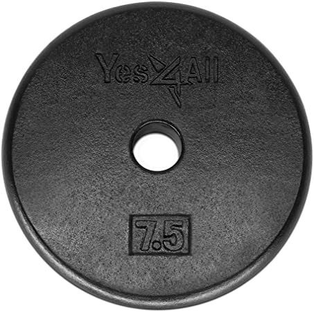 """7 1//2  7.5 lb Standard Cast Iron Weight lifting Plates 1/"""" 2 plates 15 lbs total"""