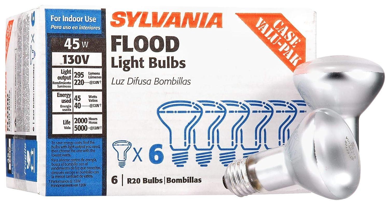 Sylvania 15676 R20 130-Volt 45-Watt Reflector Indoor Flood Light Bulbs, Incandescent Light (pack of 6)