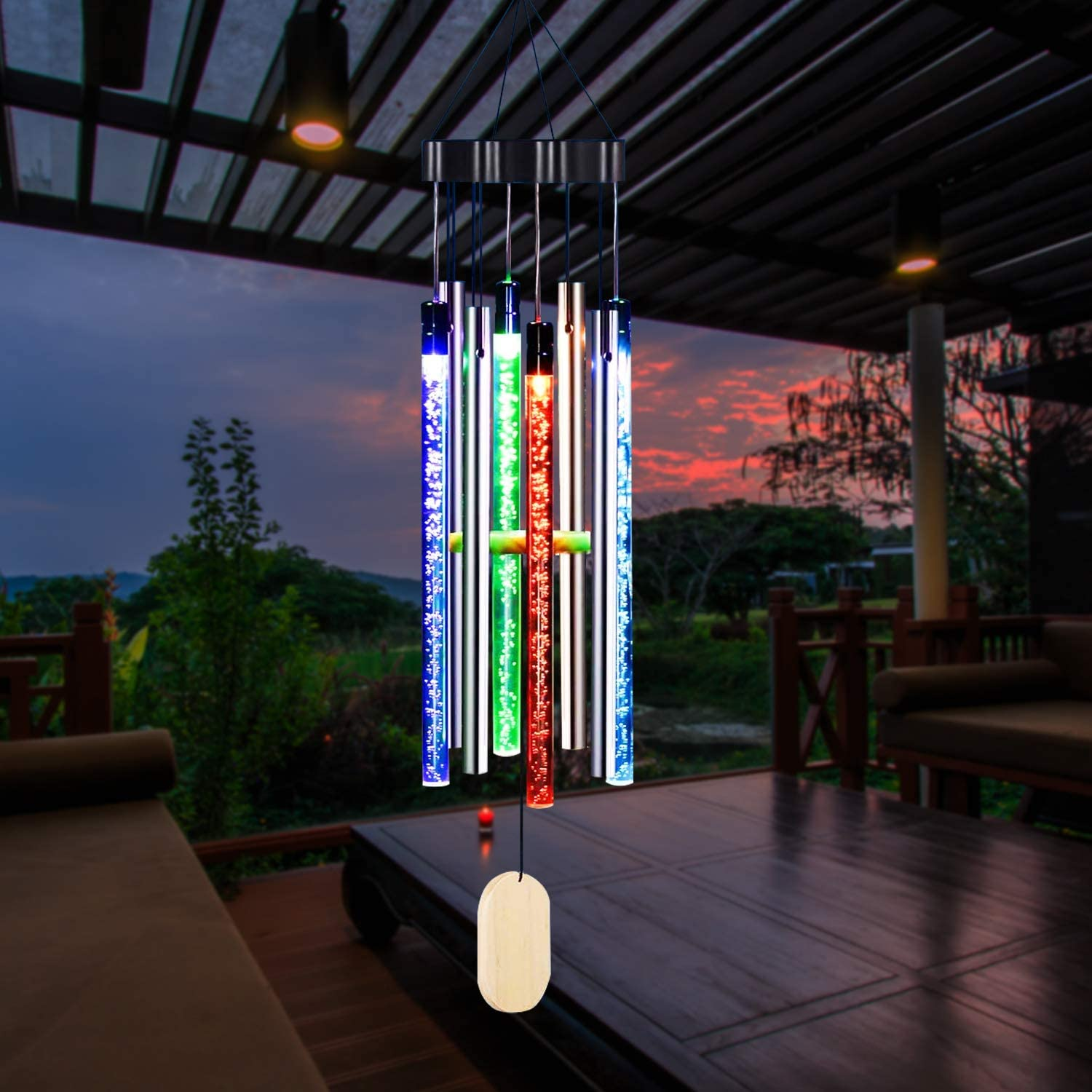 X-PREK Solar Wind Chimes for Outside,Color-Changing Hanging Mobile Memorial Wind Chime Outdoor Waterproof Porch Deck Garden Patio Decor