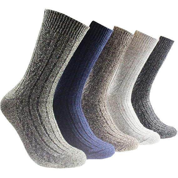 Miss Fortan 5 Pares de Calcetines de Lana de Alpaca Gruesos Calcetines Termicos Hombre para Invierno Retro: Amazon.es: Ropa y accesorios