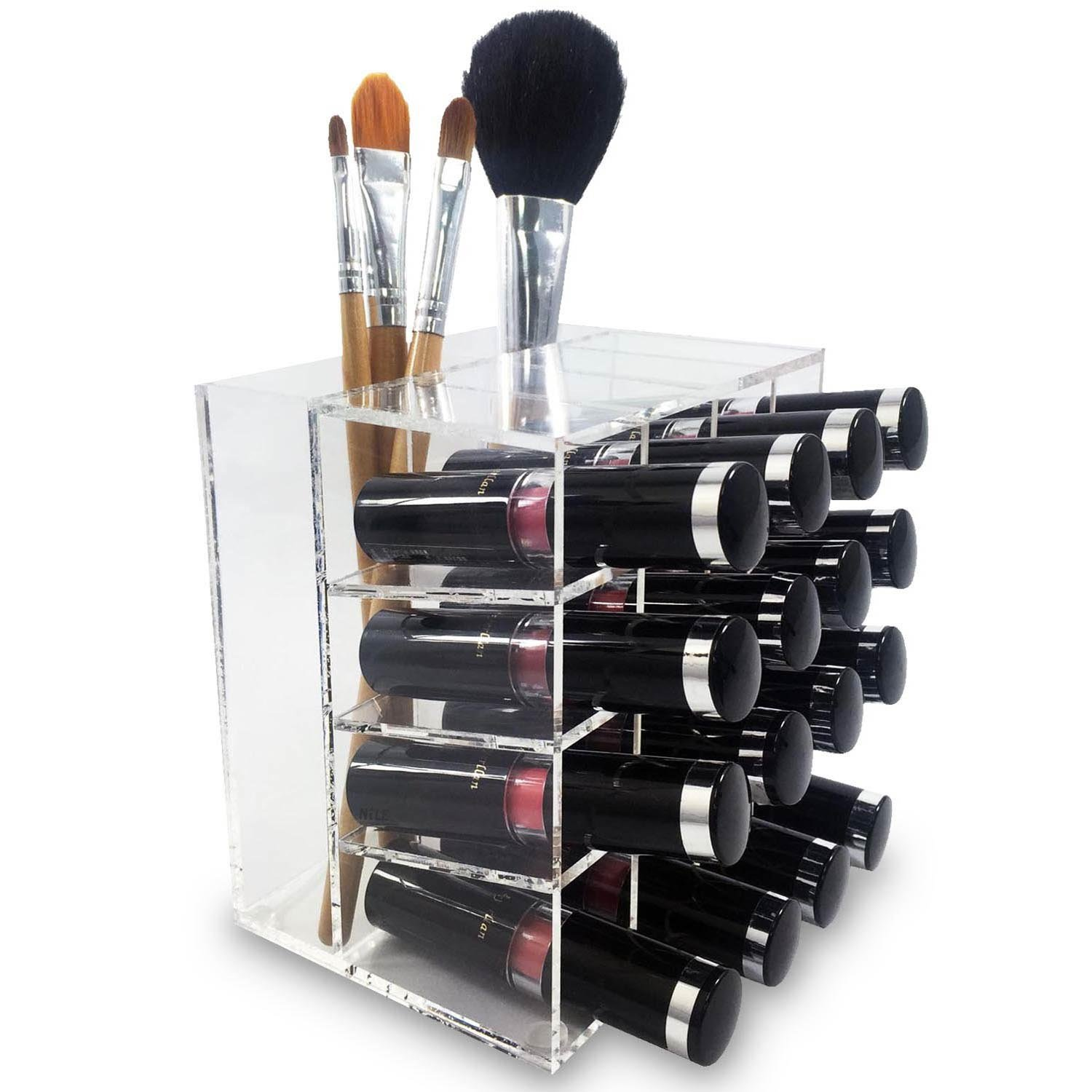 Ikee Design Acrylic Rotating 64 Lipstick Holder Organizer Spinning Lipstick Tower Lipgloss Holder with Removable Dividers COM063