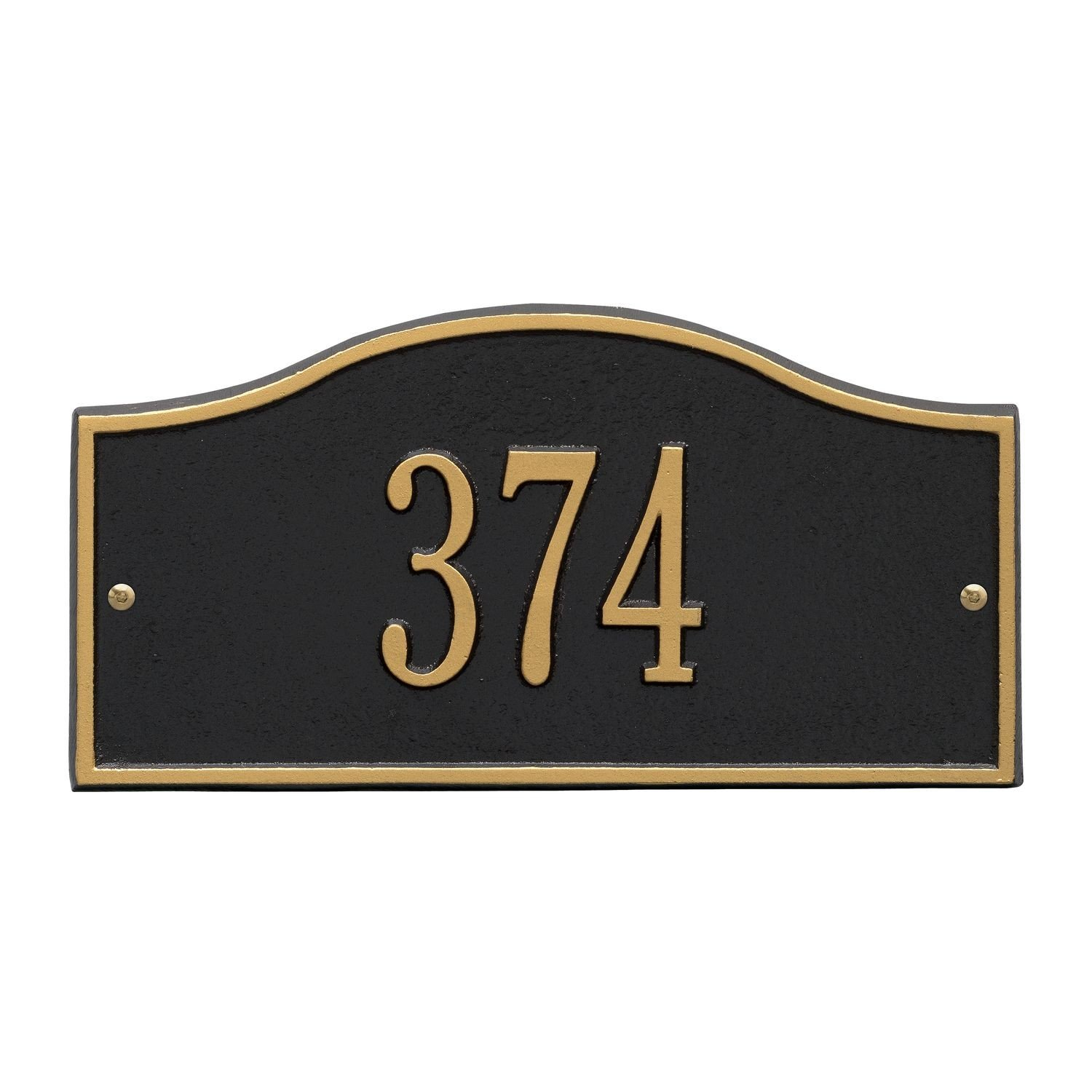 Whitehall Personalized Cast Metal Address Plaque - Small Rolling Hills Custom House Number Sign - 12'' x 6'' - Allows Special Characters - Black/Gold