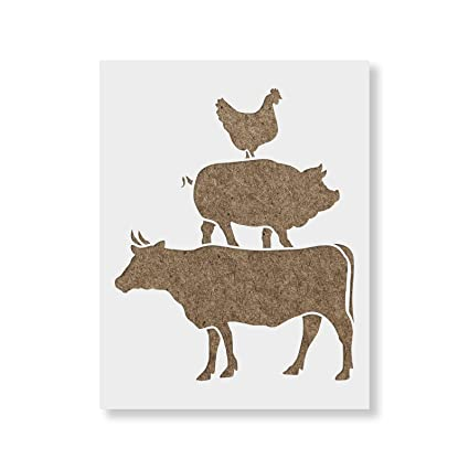 amazon com cow pig chicken stencil template reusable stencil with