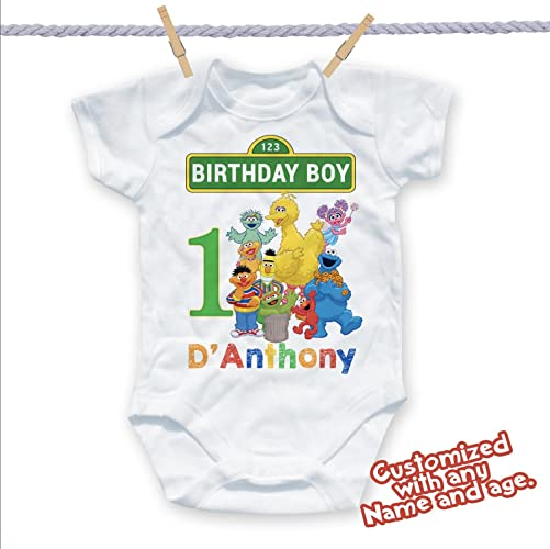 Customized Sesame Street Shirt Add Name Age Custom Birthday Party Tee