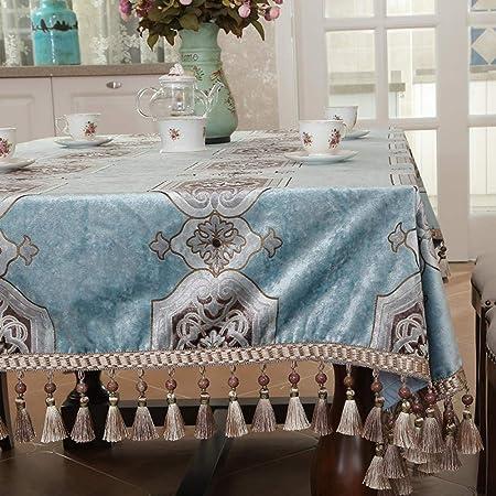 YuHengJin Mantel Antimanchas Color Liso para Cocina Algodón y Lino Alta Gama Europeos para Las Mesas Rectangular Manteles Azul 140×210 cm: Amazon.es: Hogar