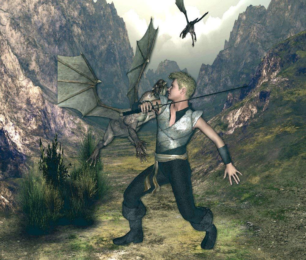 Fantasy wall tapestry, Dragon slayer fan art, boys room dragon decor, Fairy tale wall hanging.