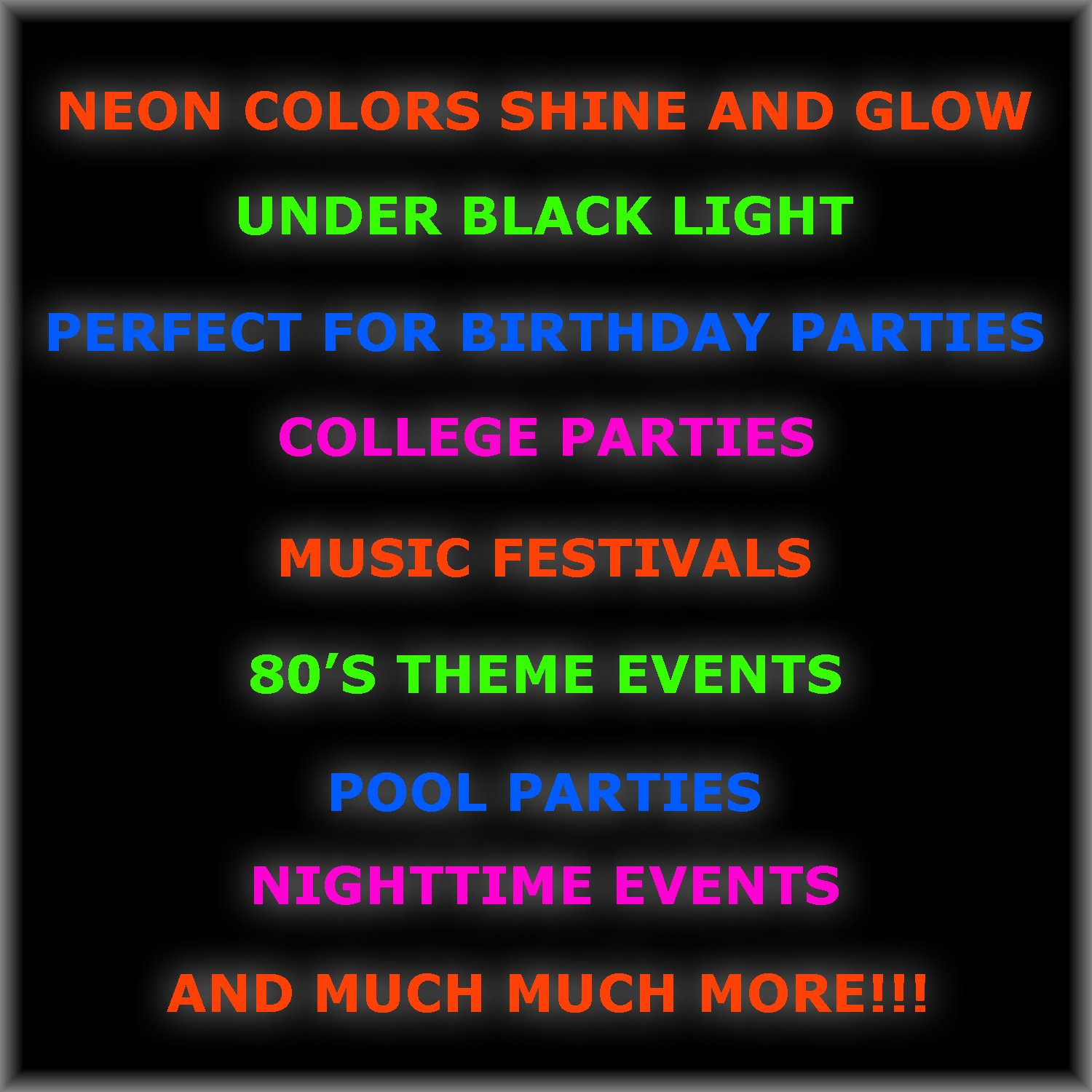 Neon Plates (9''), Cups (12 oz) & Napkins - 40 Servings, 4 colors - Black Light Party Supplies, Glow-in-the-Dark with UV Light - for Birthdays, 80s Theme, Fiesta, clubs by HeroFiber (Image #4)