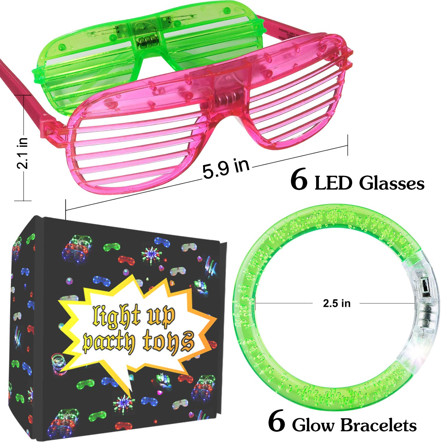 6687f505f46 Amazon.com  2019 Glow in The Dark Party Supplies 12 Pack Light Up Toys for  Easter Egg Easter Basket Stuffers Fillers Including 6 LED Flashing Glasses 6  ...