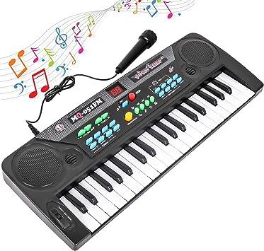 Shayson Piano De Teclado para Niños, Teclado Musical para Niños De 37 Teclas con Radio FM y Micrófono, Teclado Electrónico Portátil para Niños