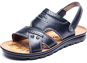 051b9168f63a RESPEEDIME Spring and Summer Men s Beach Sandals Leather Casual Breathable  Non-Slip Slippers
