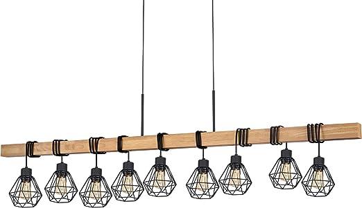 EGLO Pendellampe Townshend 5, 9 flammige Vintage Pendelleuchte im Industrial Design, Retro Hängelampe aus Stahl und Holz, Farbe: Schwarz, braun,