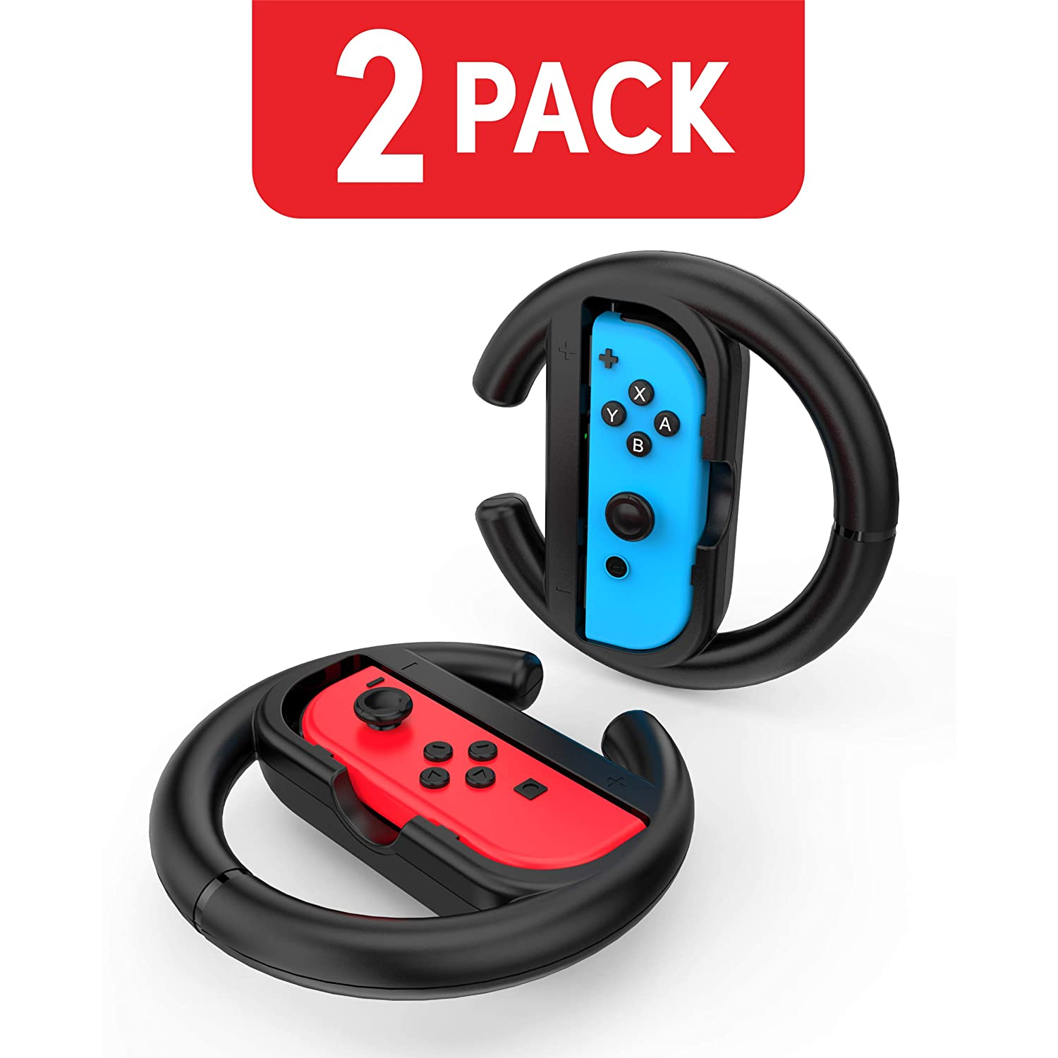 Steering Wheel Controller for Nintendo Switch (2 Pack) by TalkWorks | Racing Games Accessories Joy Con Controller Grip for Mario Kart, Black: Video Games