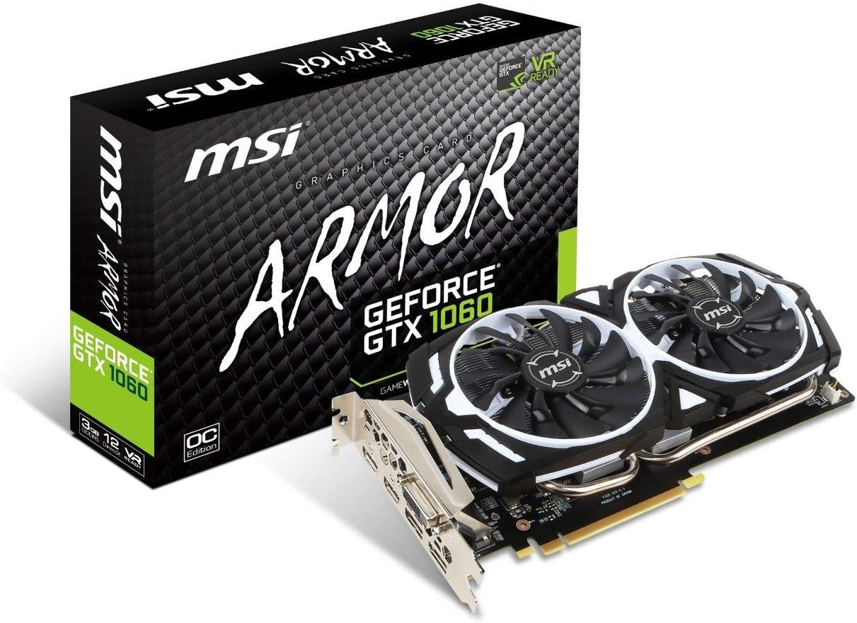 MSI GAMING GeForce GTX 1060 3GB GDRR5 192-bit HDCP Support DirectX 12 Dual Fan VR Ready OC Graphics Card (GTX 1060 ARMOR 3G OCV1)