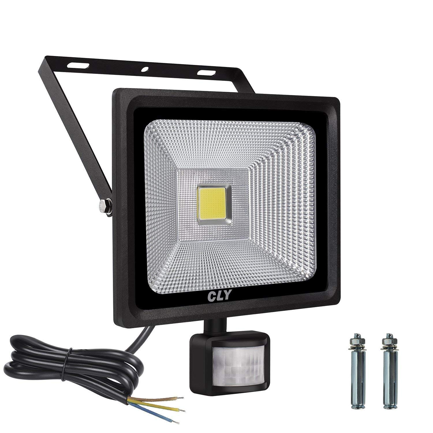 LTE 50W Motion Sensor Flood Lights Outdoor Security Floodlight Waterproof IP65 Cool White 6000K 3750 Lumens PIR Flood Lights