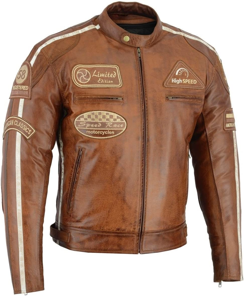 BOS Retro Motorrad lederjacke 56