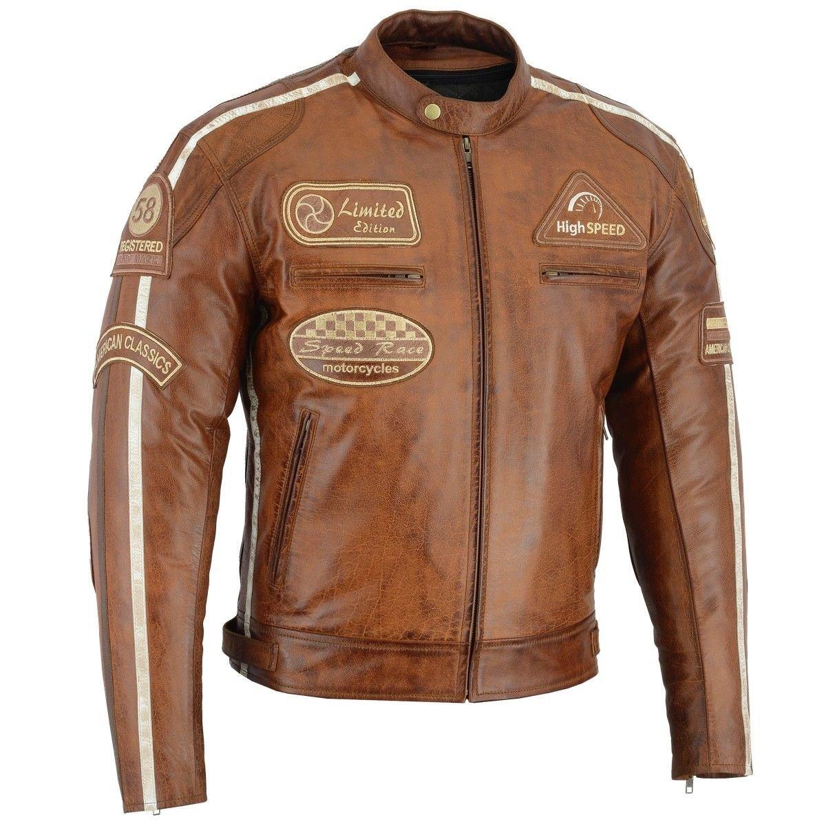 Herren Retro Biker Lederjacke Motorrad Jacke Race Streifen Rockerjacke Chopper L