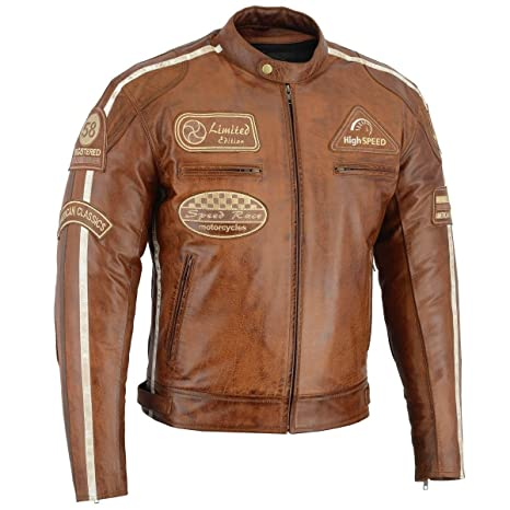Herren Motorrad Retro Racing Streifen Lederjacke: