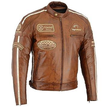 Details about Herren Motorradjacke Classic Motorrad Lederjacke Retro Biberjacke Vintage Jacke