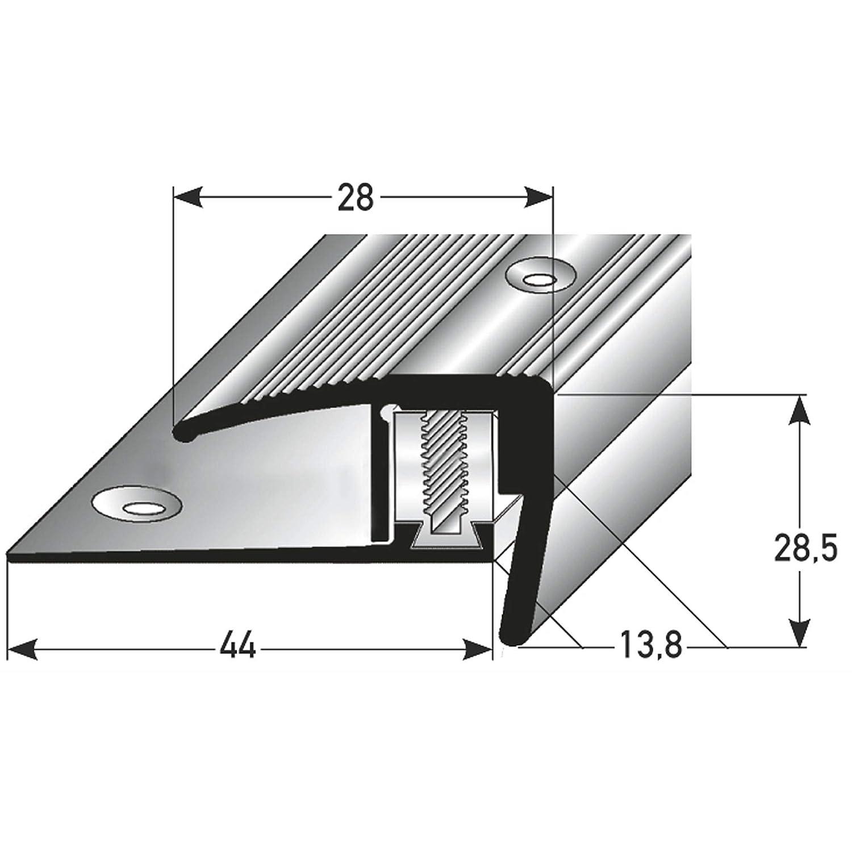 Treppenstufen-Profil aus Alu silber * Rutschhemmend * Robust * Leichte Montage 7-15,5 mm 90cm acerto 35804 Aluminium Treppenkantenprofil Gelochtes Stufenkanten-Profil Treppenkanten-Profil