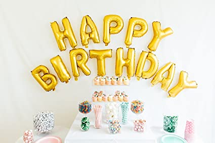 Party Propz Golden Happy Birthday Foil Balloon/Birthday Balloons For Decoration at amazon