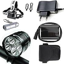 LED Luz Linterna LáMPARA TORCH frontal Cabeza 5x CREE 5X 6000 lúmenes LED de bicicleta /bici lámpara Luz LED frontal para manillar (5 focos, 3 modos) ...