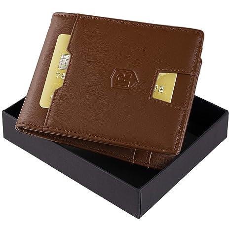 3f668349b9f80 Rivacci Geldbeutel Männer Leder Kartenetui Slim Portemonnaie Wallet  Portmonaise Herren Geldbörse Männer klein Münzfach RFID Kreditkartenetui