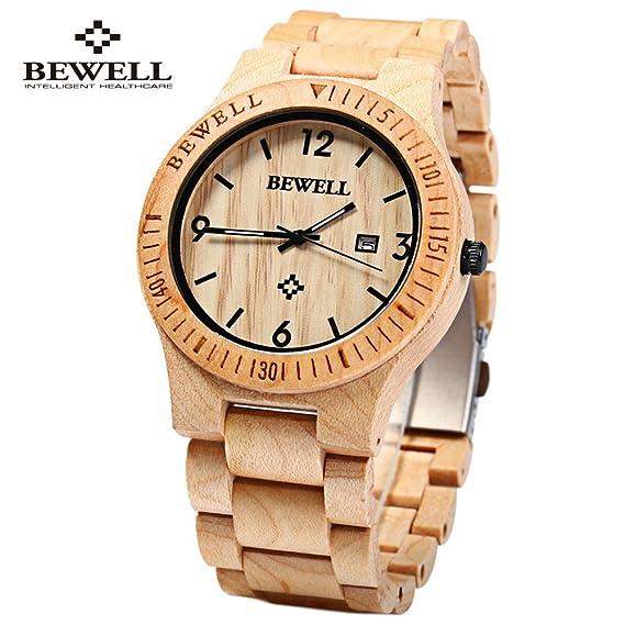 Bewell - Reloj madera ZS - w086b Hombres Reloj analógico movimiento de cuarzo fecha Display: Amazon.es: Relojes