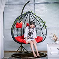 Creative PE Rattan Weave Double Person Seat Swing Hanging Chair with Handrail Home Balcony Living Room Leisure Lazy…