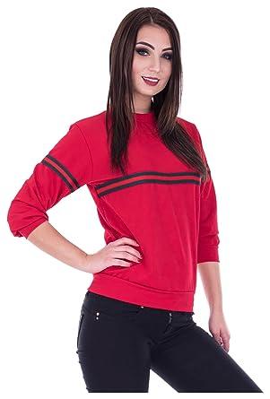 bbad3123ba32 Loomiloo Sweater Front-Stripes Pulli Sweatshirt Streifen Damen Pullover Rot  S M  Amazon.de  Bekleidung